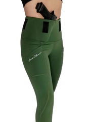 Olive Green Phantom 2 Concealed Carry Leggings from Dene Adams