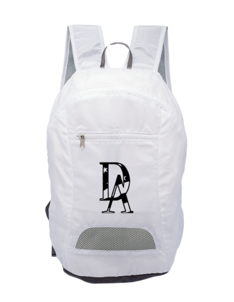 Patriotic DA Branded Foldable Backpack -White DA