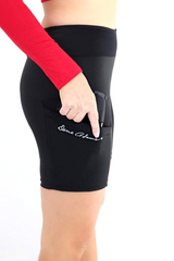 Black Concealed Carry Shorts with Outer Thigh Holstering from Dene Adams