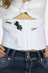Petite-sized white concealed carry corset holster from Dene Adams