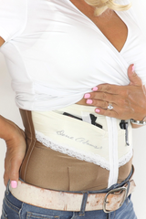 Sable brown and ivory concealed carry corset holster from Dene Adams