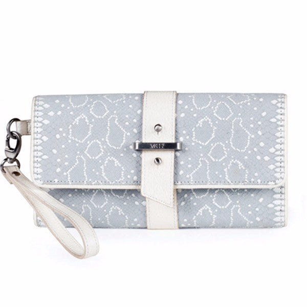 Bacio Leather Wallet/Clutch (White Snake)