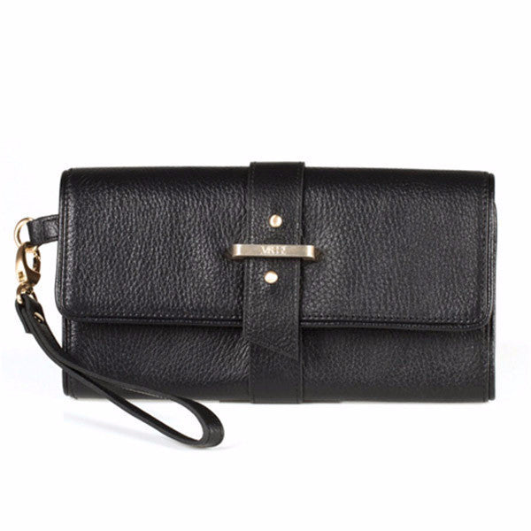 Bacio Leather Wallet/Clutch (Black)