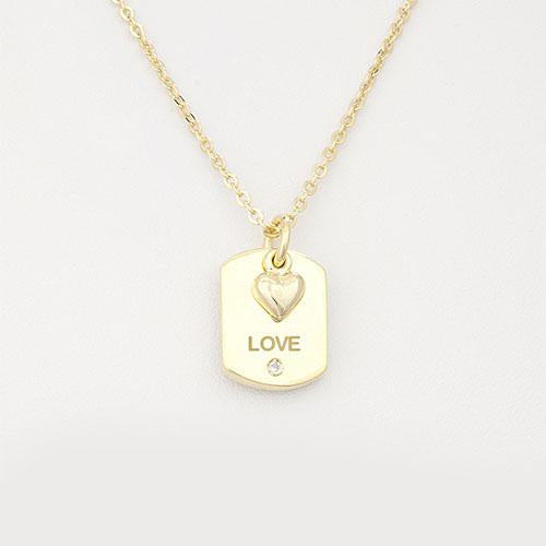 "Military ""Love"" Necklace - Heart Charm"