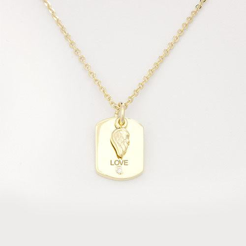 "Military ""Love"" Necklace - Angel Wing Charm"