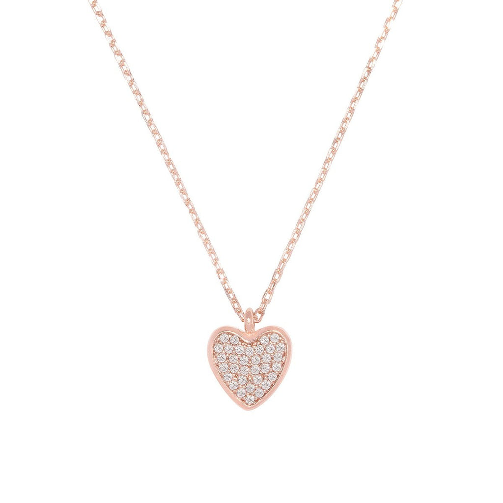 Rose Gold Pavé Heart Necklace