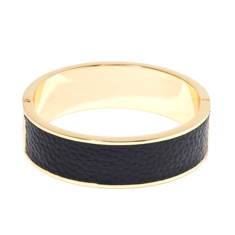 Leather Buckle Bracelet (White & Gold)
