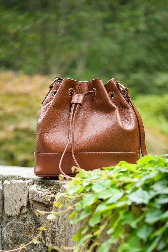 Leather Bucket Bag (Brown)