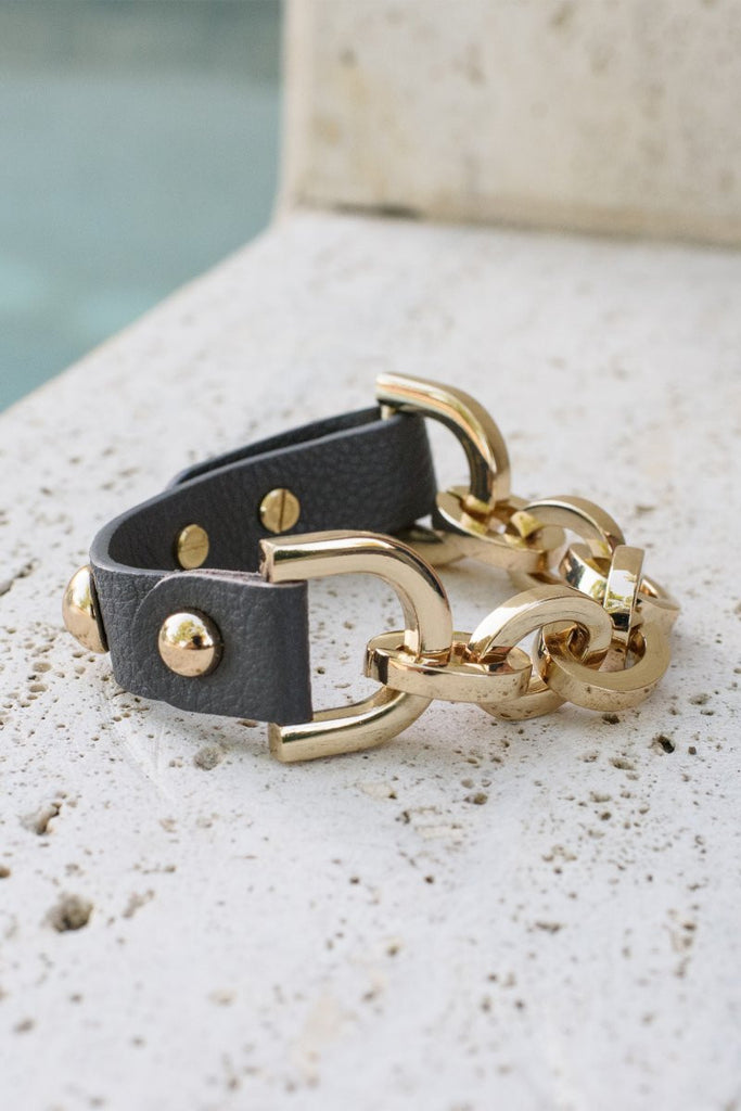 Leather Equestrian Bracelet (Grey/Gold)