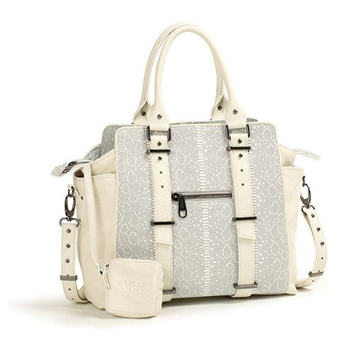 Bacio Leather Tote (White Snake)