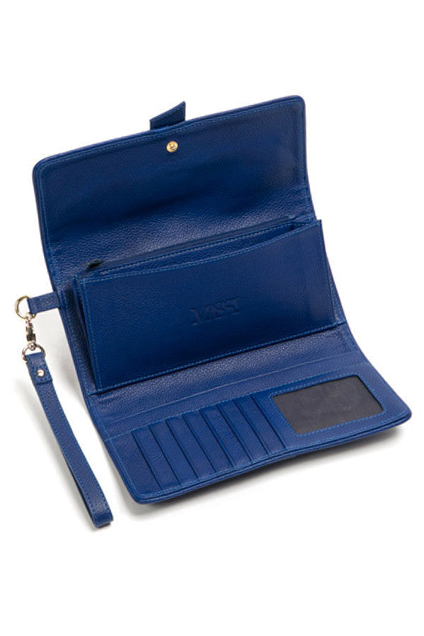 Bacio Leather Wallet/Clutch (Blue)