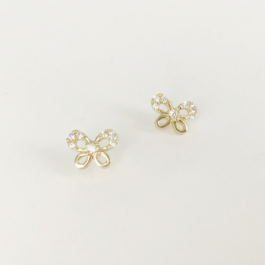Solid 14k Gold Fine Stud Earrings - Butterfly