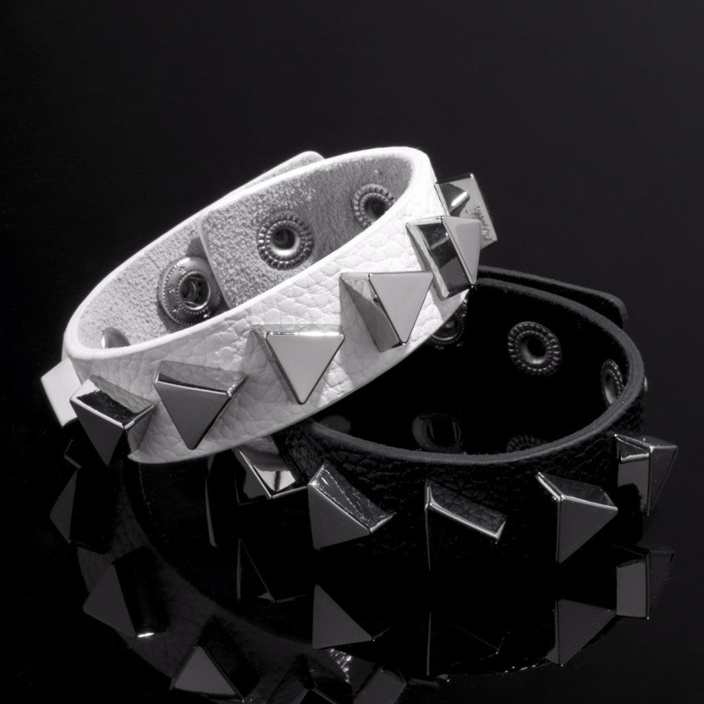 Triangle Leather Cuff Bracelet (Black & Silver)
