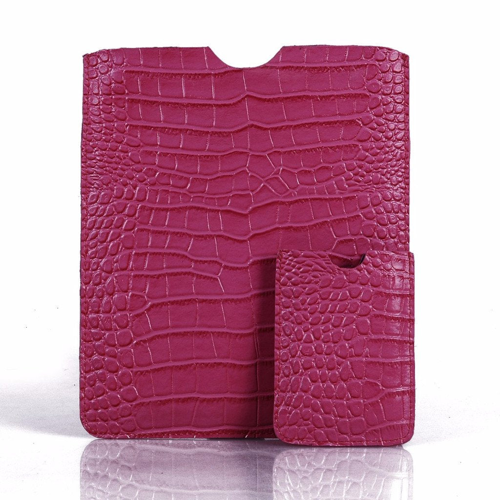 Leather Tablet Sleeve + Purse Pouch Set - Pink Crocodile