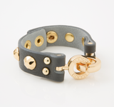 Studded Leather Cuff (Grey & Gold)