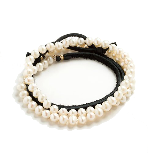 Freshwater Pearl & Leather Wrap - Black