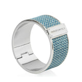Leather Cuff Bracelet (Metallic Blue & Rhodium)