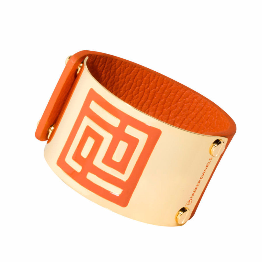 Leather Palm Springs Cuff (Orange)