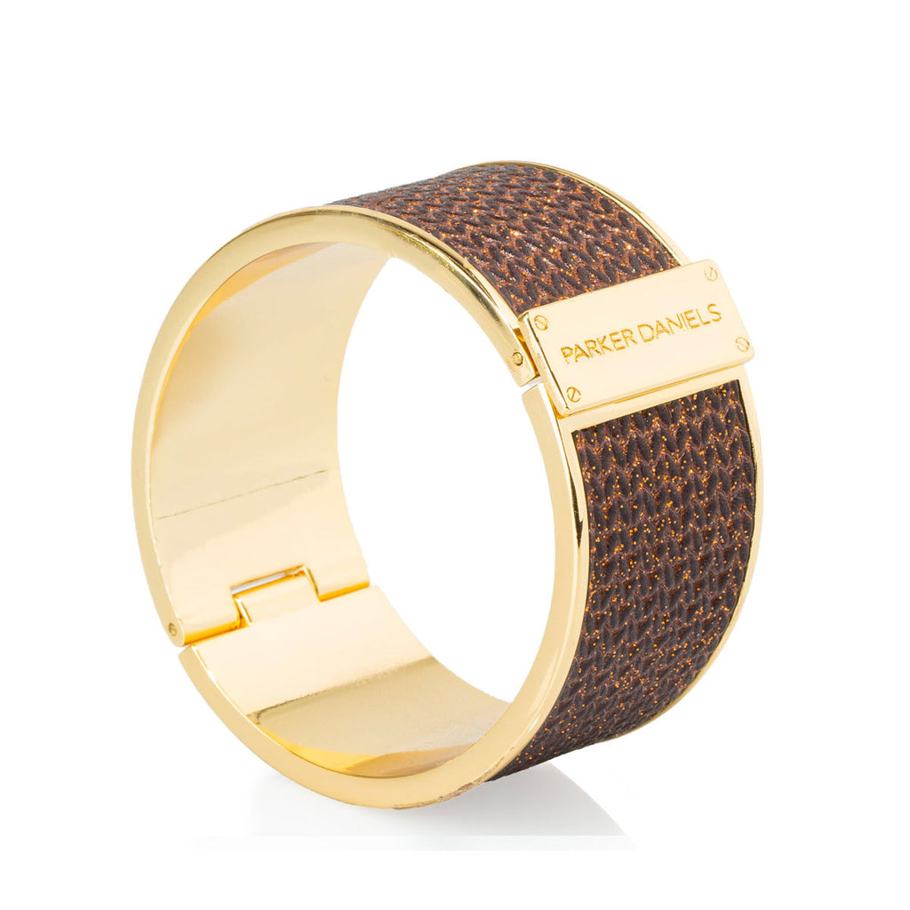 Leather Cuff Bracelet (Metallic Bronze & Gold)