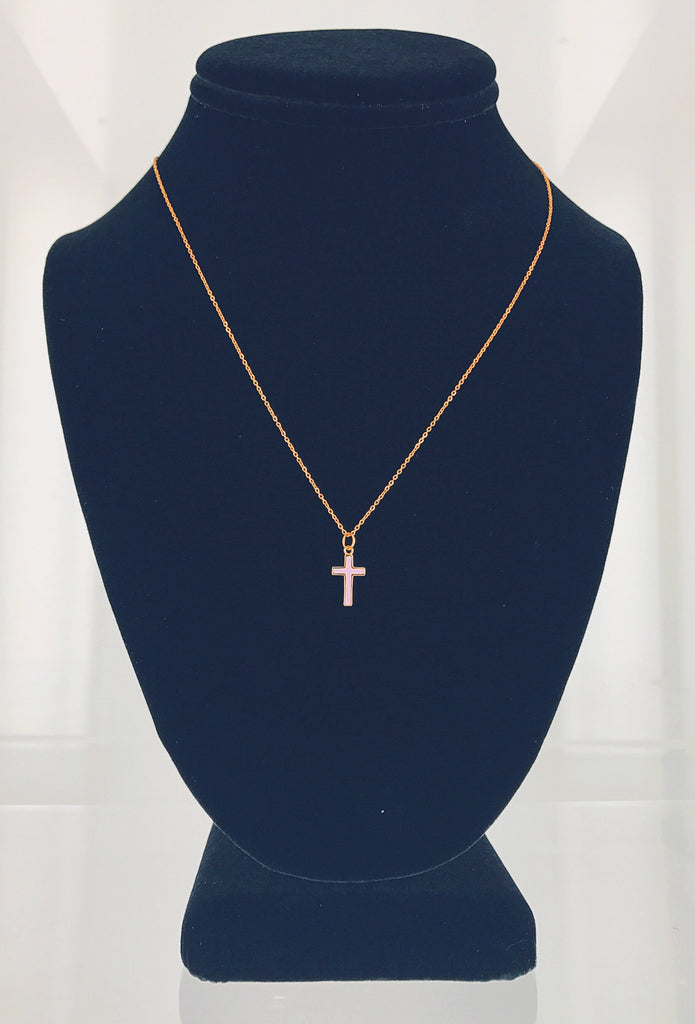 Dainty Cross Necklace (Lavender)