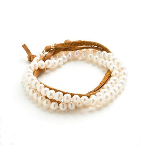 Freshwater Pearl & Leather Wrap - Brown