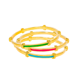 Gold Plated Enamel Stacking Bangles (Assorted Colors)