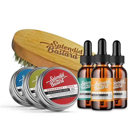 Set: 6 Mini Balms & Oils with Beard Brush