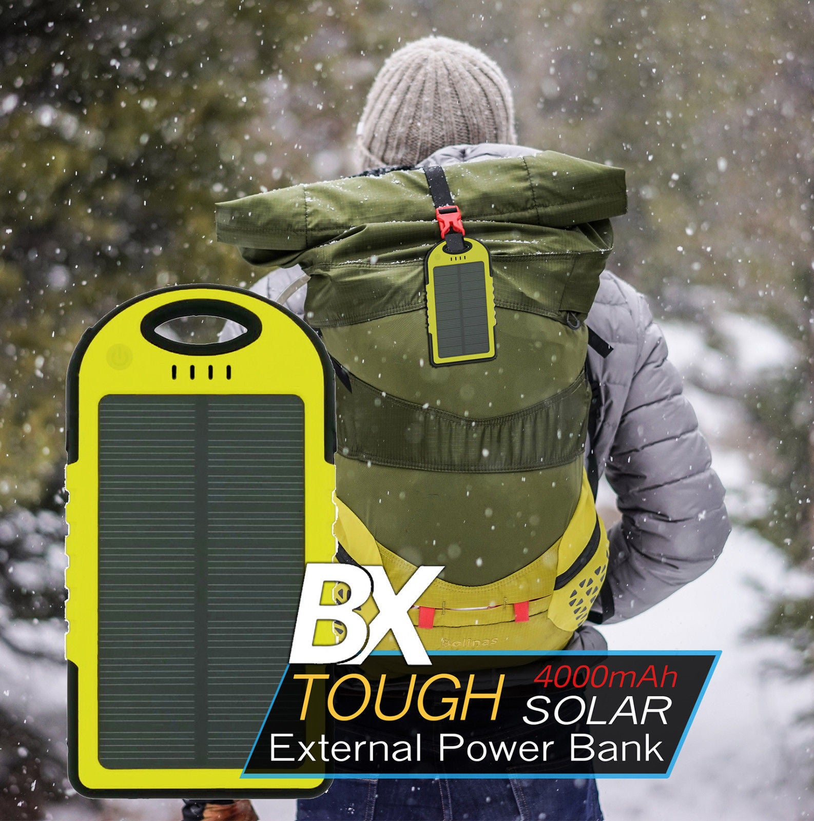 BX 4K Tough Solar Power Bank Solar and AC Charging LED Light 4,000 mAh