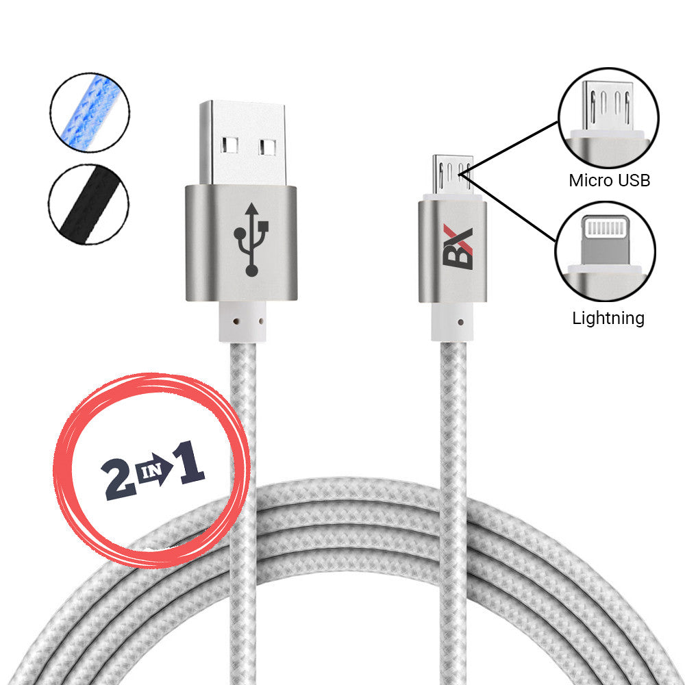 BX FLIPTIP 2 IN 1 MICRO USB AND 8 PIN TO USB BRAIDED CABLE