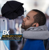 BX Memory Foam Travel Pillow with Wireless Earbuds