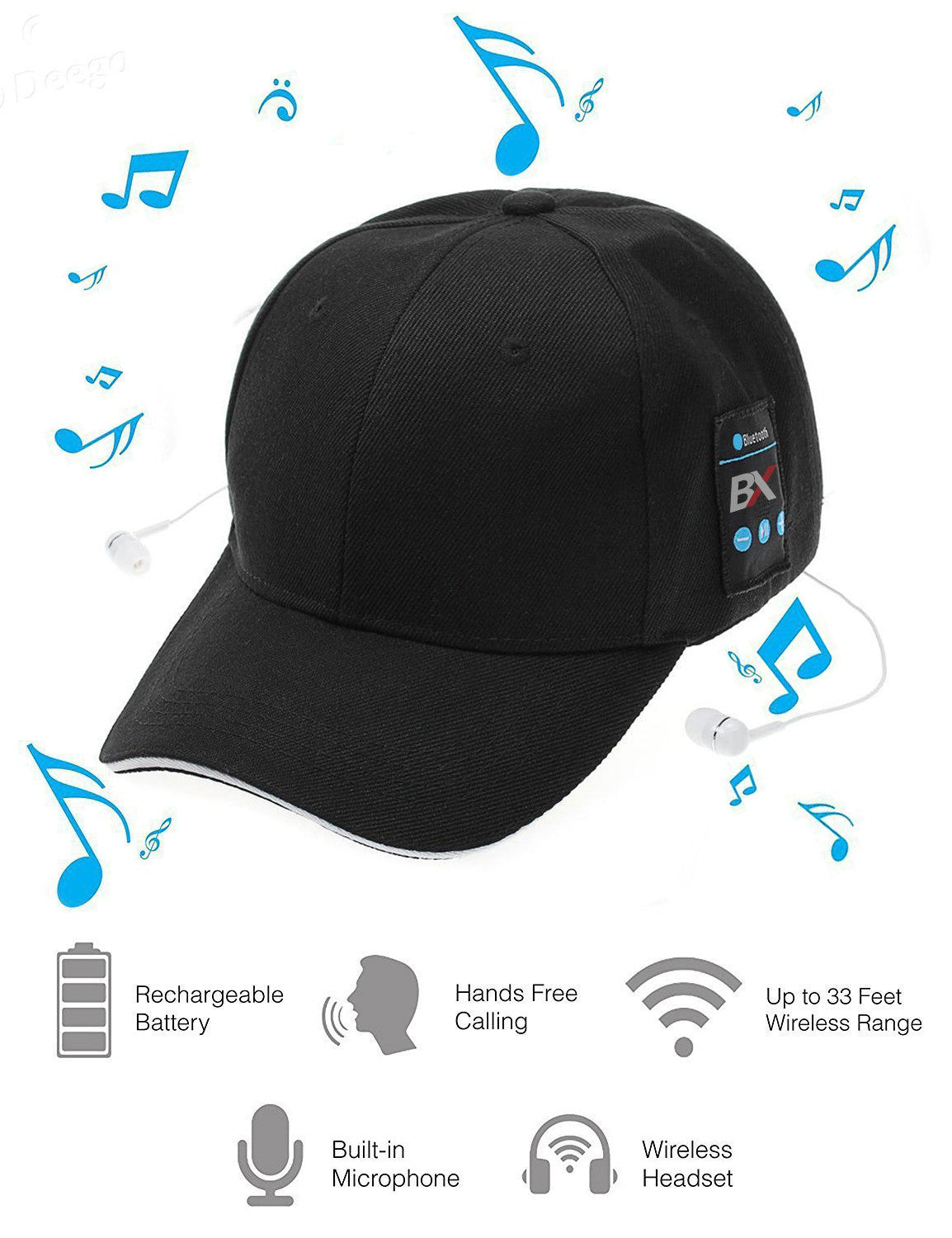 BX Baseball Cap With Built in Wireless Earphones