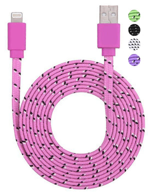 BX Braided Flat Noodle Cable 8 pin to to USB