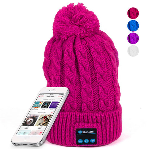 BX Bun Top Beanie Built in Wireless Earphones