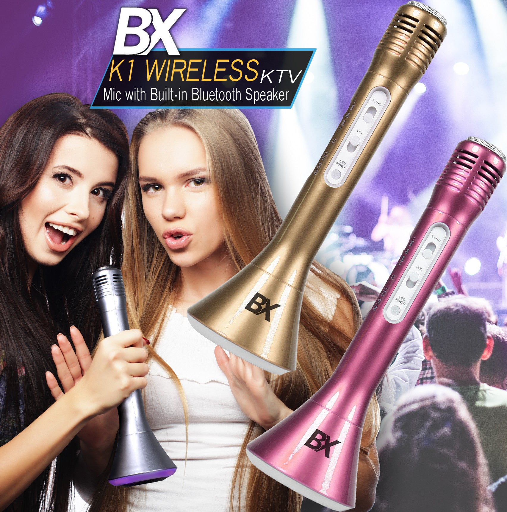 BX K1 Wireless Karaoke Microphone  and Speaker