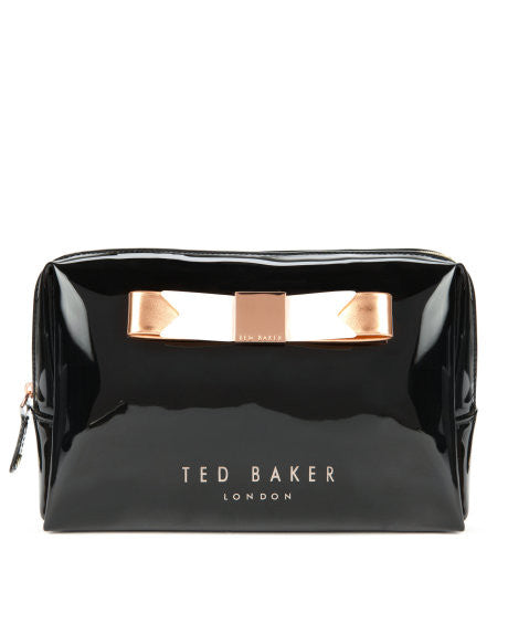 montone large bow cosmetic case - black || ted baker