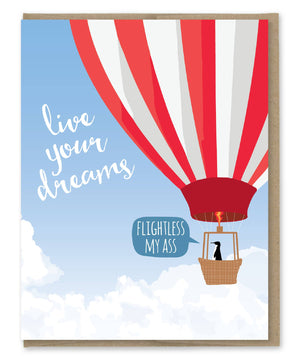 Live Your Dream Penguin Card