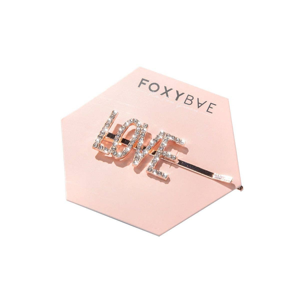 """Love"" Rose Gold Hair Clip 