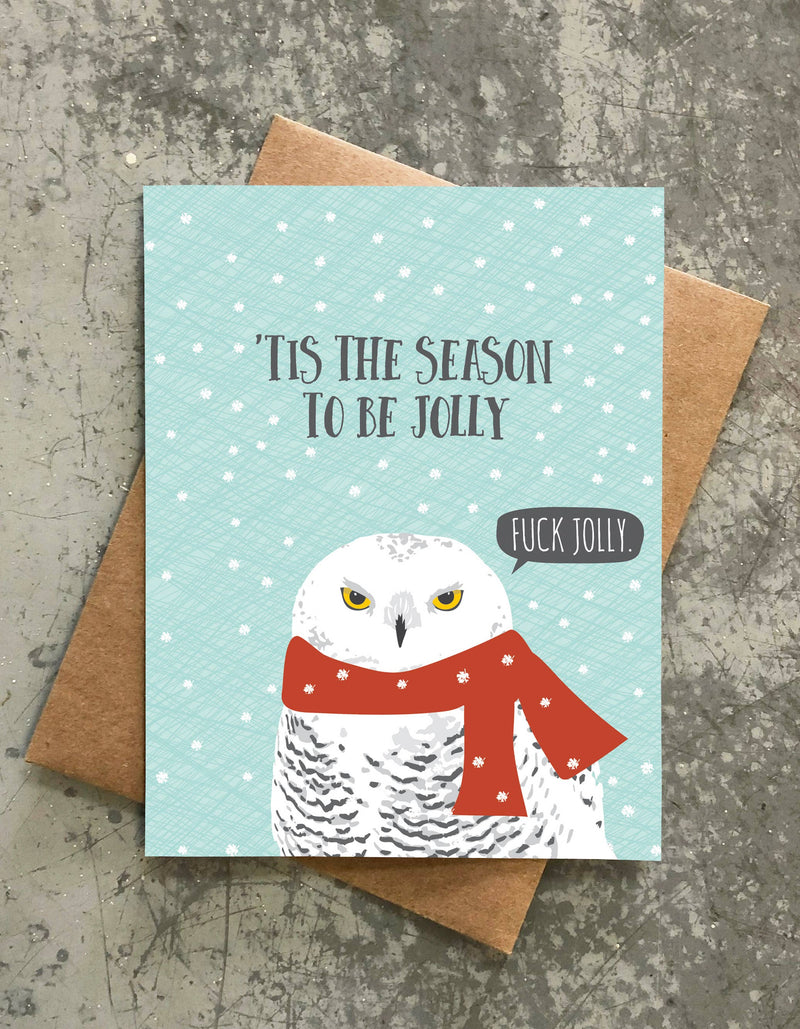 Be Jolly Angry Owl Holiday Card || Modern Printed Matter