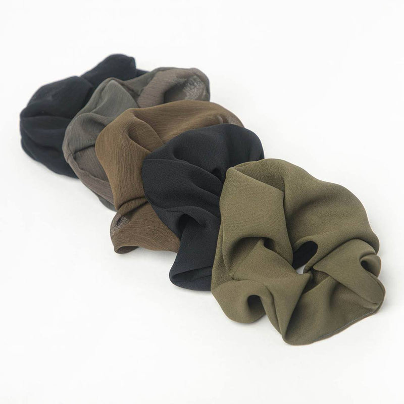 Crepe Scrunchies 5pc - Moss || Kitsch || Beautybar