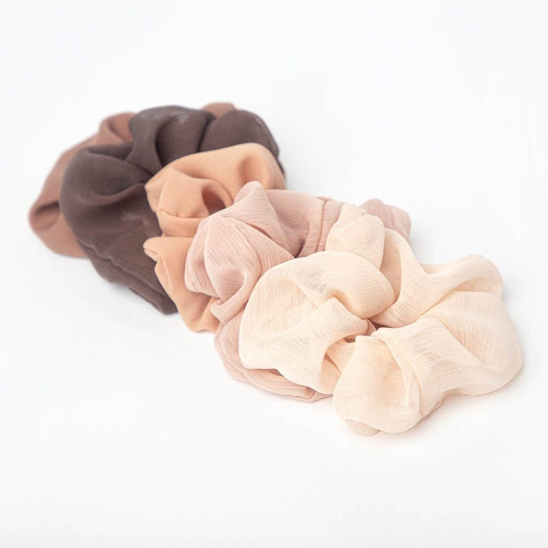 Crepe Scrunchies 5pc - Terra Cotta || Kitsch || Beautybar