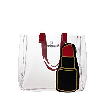 clear tote & lipstick pop bag - red