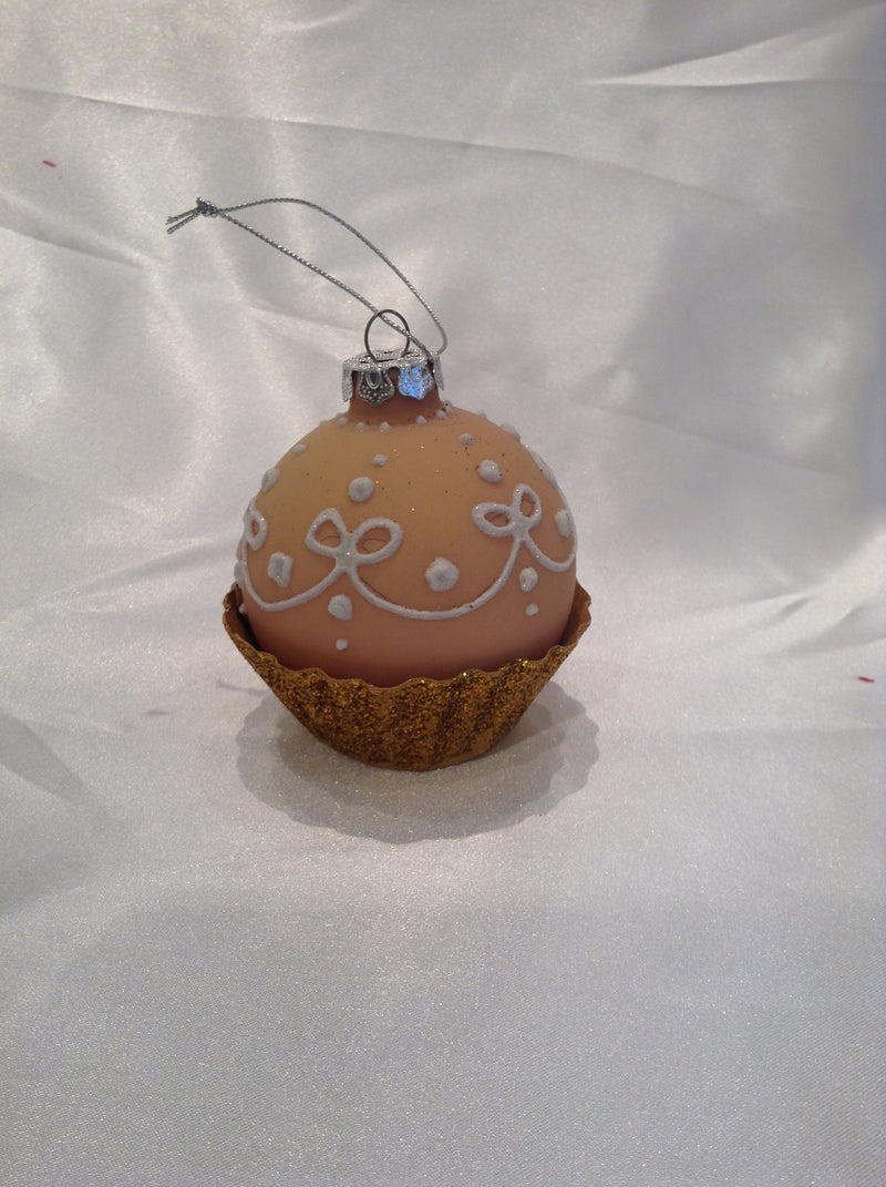 glass cupcake ornament - peach || katherine's collection