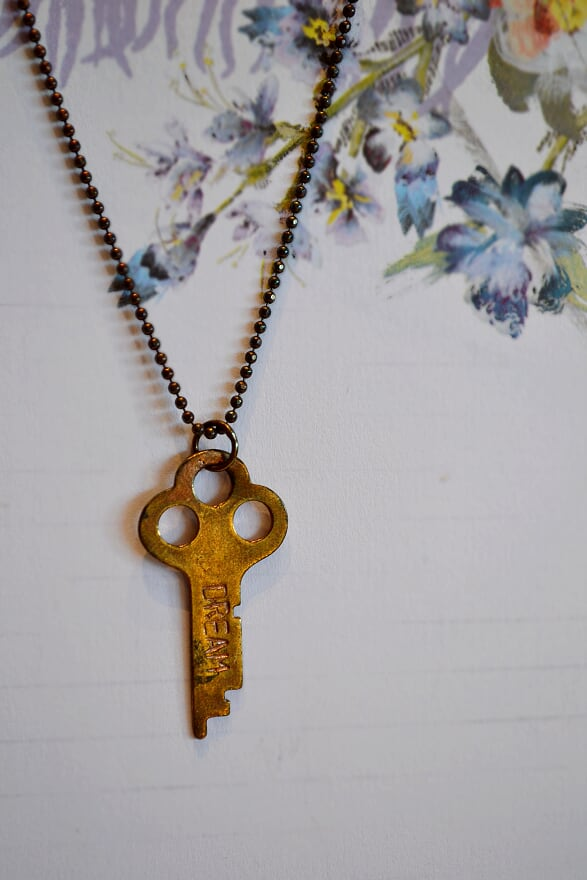 """dream"" rose gold key ball chain necklace"