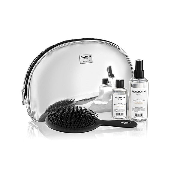 silver patent leather pouch gift set || balmain hair couture