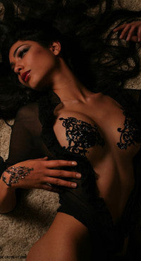 tribal black crystal bra body jewellery || ines de castilho