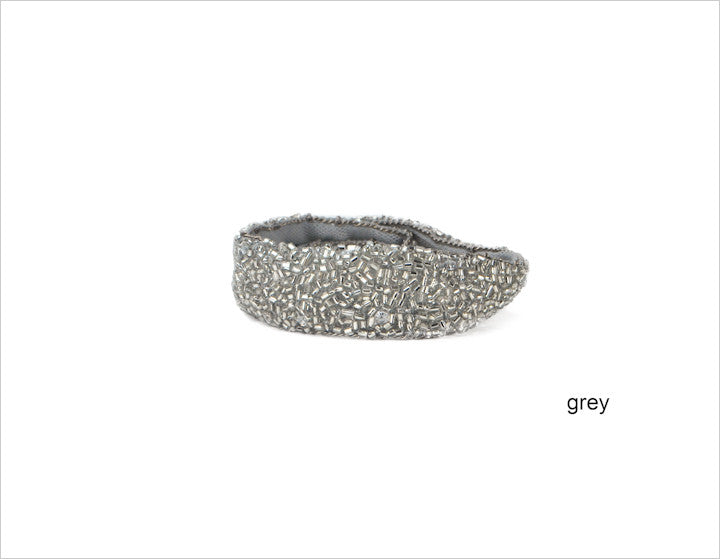 grey sparkly sequin & mesh headband || jane tran || beautybar