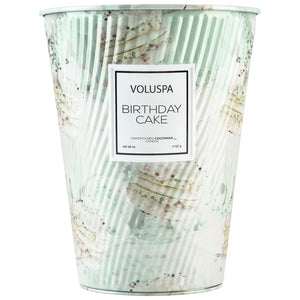 2 wick tin table candle - birthday cake || voluspa