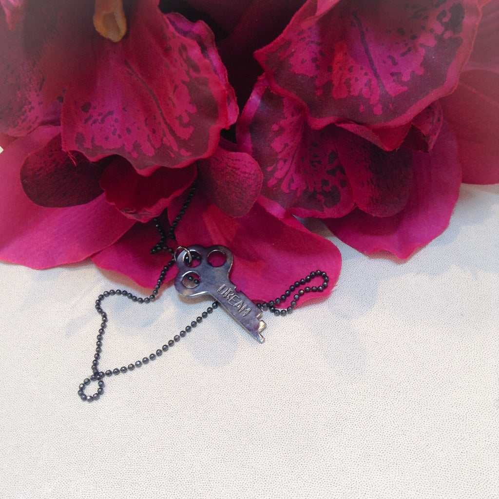 """dream"" silver key necklace 