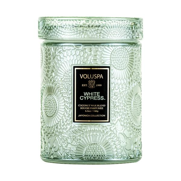 White Cypress Large Glass  Candle || voluspa || beautybar