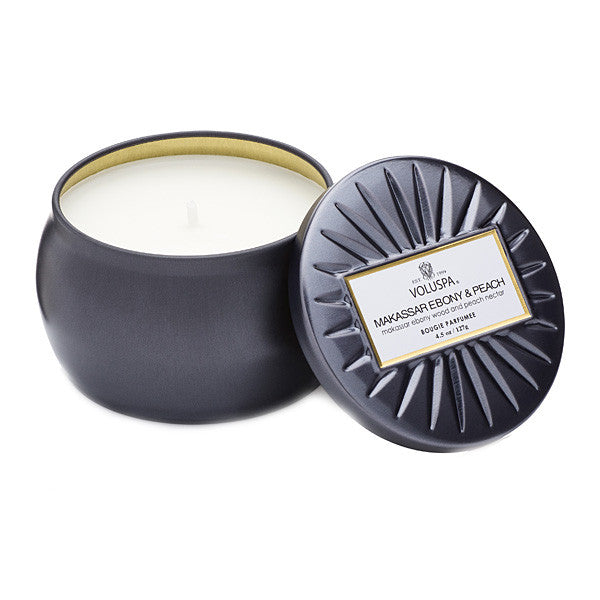 travel tin candle - makassar ebony & peach || voluspa